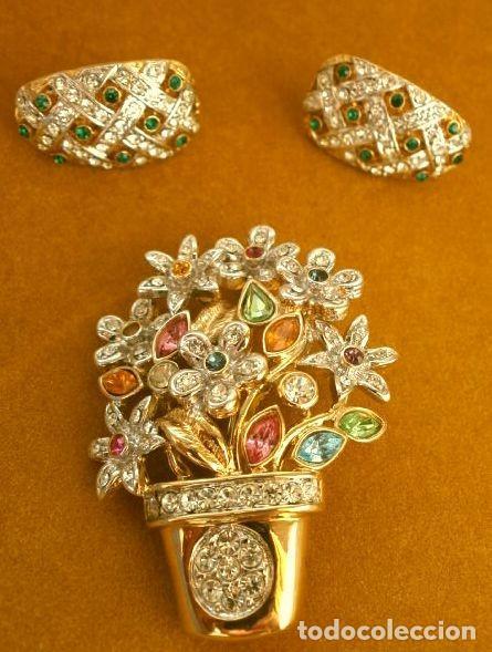 Joyeria: CONJUNTO BROCHE Y PENDIENTES CON PEDRERIA VINTAGE (AÑOS 70-80) Cristales BISUTERIA fantasia - Foto 7 - 195325155