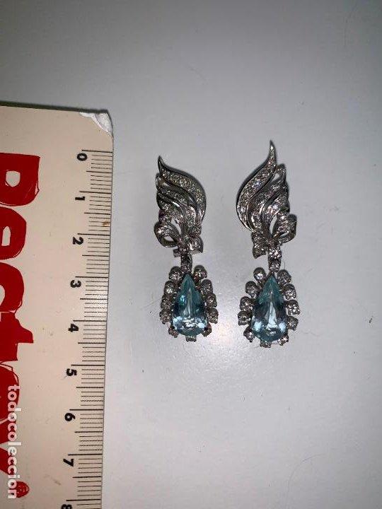 Joyeria: excelentes pendientes de oro 18 k con brillanteria, aguamarinas y perlas - Foto 6 - 195334233