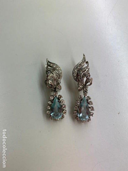 Joyeria: excelentes pendientes de oro 18 k con brillanteria, aguamarinas y perlas - Foto 7 - 195334233