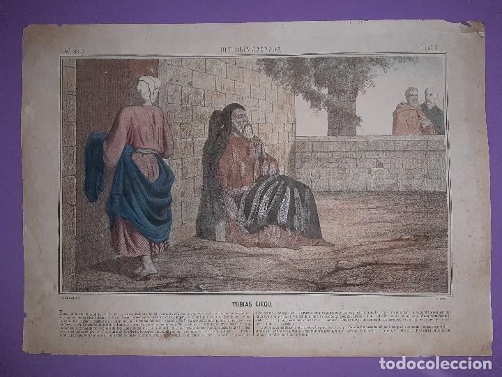 ANTIGUO GRABADO HISTORIA SAGRADA 4ª SERIE LAMINA 1ª TOBIAS CIEGO FIRMA LLANTA F, MENCHACA LOGROÑO (Bisutería)
