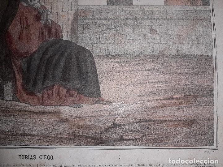Joyeria: ANTIGUO GRABADO HISTORIA SAGRADA 4ª SERIE LAMINA 1ª TOBIAS CIEGO FIRMA LLANTA F, MENCHACA LOGROÑO - Foto 7 - 195344317