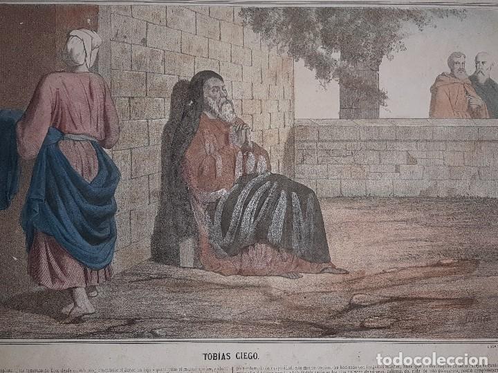 Joyeria: ANTIGUO GRABADO HISTORIA SAGRADA 4ª SERIE LAMINA 1ª TOBIAS CIEGO FIRMA LLANTA F, MENCHACA LOGROÑO - Foto 9 - 195344317