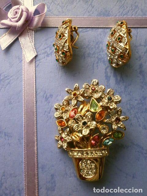 Joyeria: CONJUNTO BROCHE Y PENDIENTES CON PEDRERIA VINTAGE (AÑOS 70-80) Cristales BISUTERIA fantasia - Foto 8 - 195325155