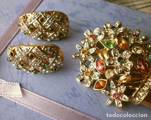 Joyeria: CONJUNTO BROCHE Y PENDIENTES CON PEDRERIA VINTAGE (AÑOS 70-80) Cristales BISUTERIA fantasia - Foto 5 - 195325155