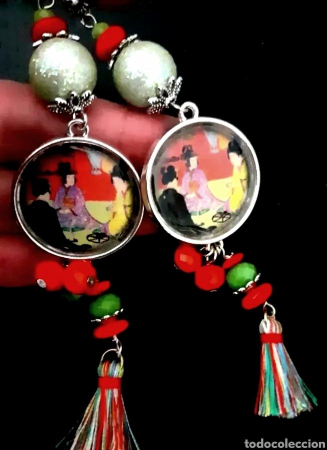 Joyeria: Pendientes japoneses con camafeos de escena de té japonesa en rojo y verde - Foto 2 - 195516142
