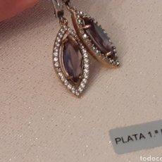 Joyeria: PENDIENTES DE PLATA AMATISTA Y TOPACIO. Lote 196780580