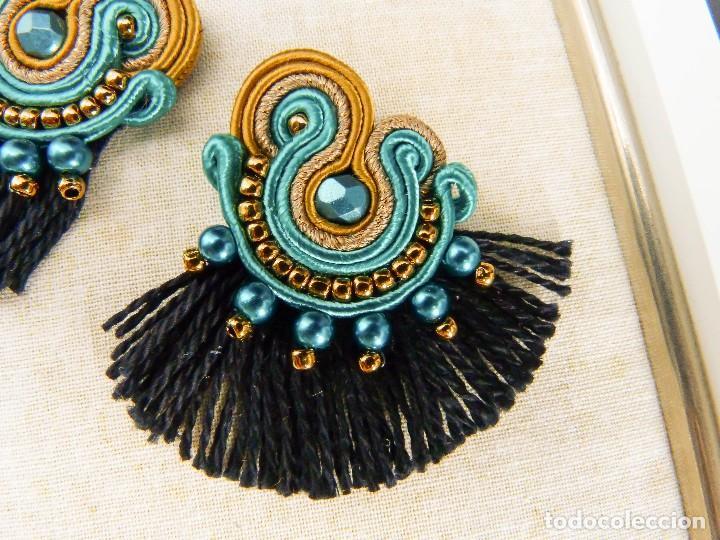Joyeria: Pendientes soutache de estilo flamenco con flecos en turquesa, cobre y negro hechos a mano - Foto 2 - 199477623
