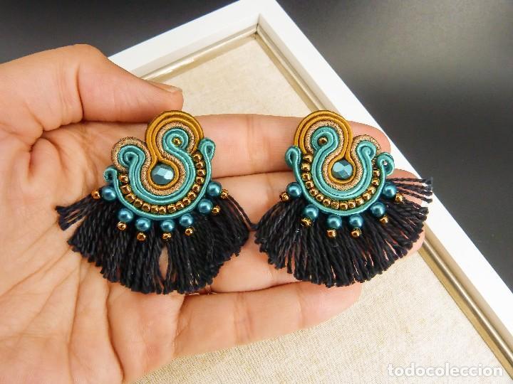 Joyeria: Pendientes soutache de estilo flamenco con flecos en turquesa, cobre y negro hechos a mano - Foto 3 - 199477623