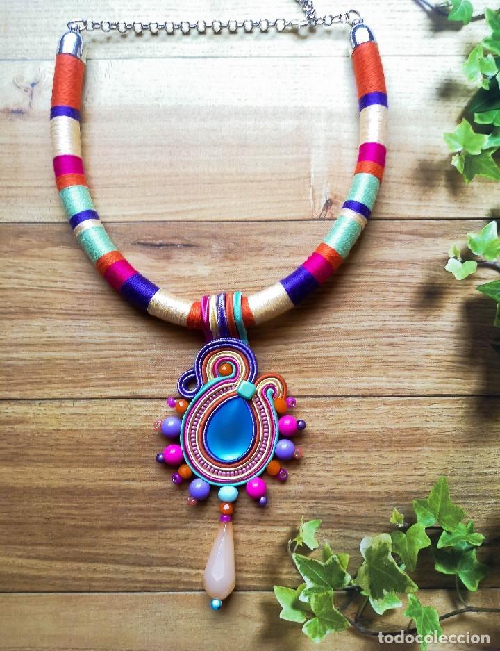 Joyeria: Collar babero 2 en 1 con colores y lágrima amarilla hecho a mano artesano - Foto 3 - 200327510