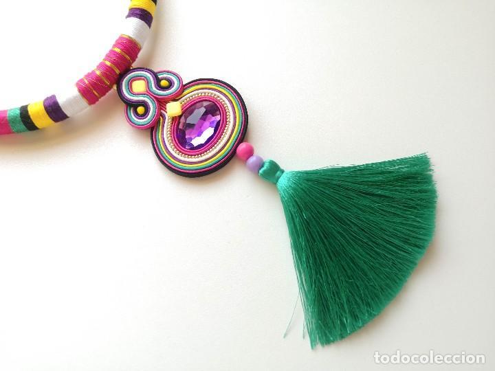Joyeria: Collar babero para el verano con borla turquesa y cordón de colores hecho a mano artesano - Foto 3 - 200329273