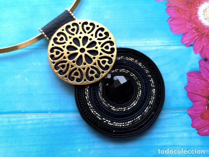 Joyeria: Conjunto de colgante y pendientes de estilo vintage en negro y dorado hecho a mano - Foto 3 - 200334278