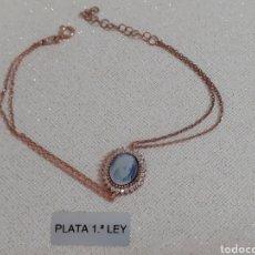 Joyeria: PULSERA DE PLATA ORO Y TOPACIOS. Lote 203176125