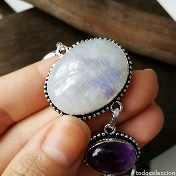 Joyeria: Pulsera con Piedra Luna arcoíris o Labradorita blanca Amatista y Larimar - 26gr. - Foto 2 - 227679329