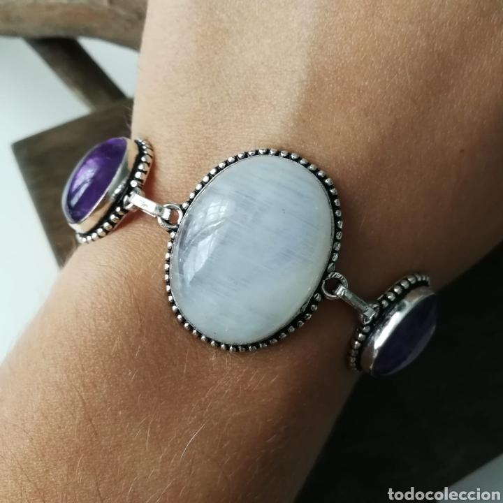 Joyeria: Pulsera con Piedra Luna arcoíris o Labradorita blanca Amatista y Larimar - 26gr. - Foto 3 - 227679329