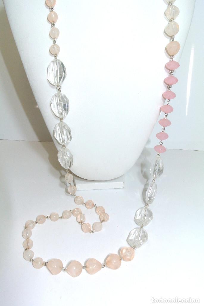 Joyeria: Collar vintage largo rosa y cristalino, nuevo - Foto 2 - 209845902
