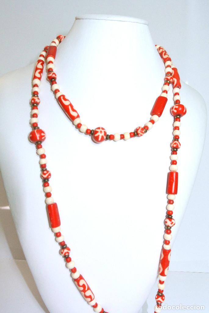 Joyeria: Collar vintage largo de hueso color rojo, nuevo - Foto 2 - 209846078