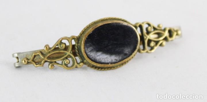 Joyeria: Pasador o broche en bronce y ónix - Francia ca 1900 - Foto 2 - 210019005