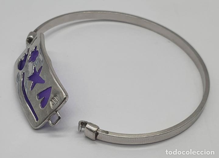 Joyeria: Brazalete en plata de ley contrastada 925 con motivos troquelados . - Foto 3 - 214556412