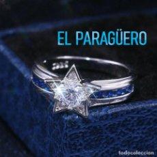 Joyeria: SORTIJA ESTRELLADE ORO BLANCO DE 18 KILATES LAMINADO CON ZAFIROS - PESA 5 GRA-TALLA 9 - Nº906. Lote 215968803