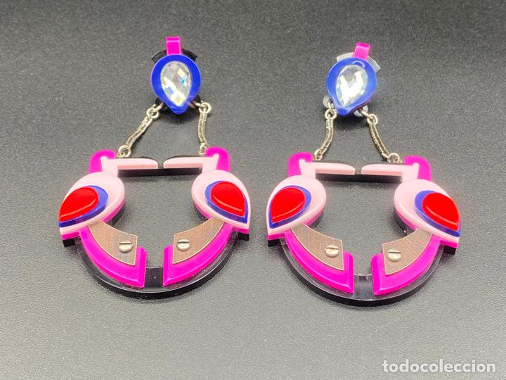 Joyeria: Gissa Bicalho , estilo art decó , acrilico , pendientes de diseño firmados , earrings - Foto 2 - 222432715