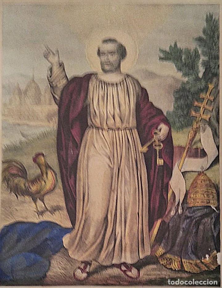 SAN PEDRO PRÍNCIPE DE LOS APOSTOLES. LITOGRAFÍA. S. XIX (Bisutería)