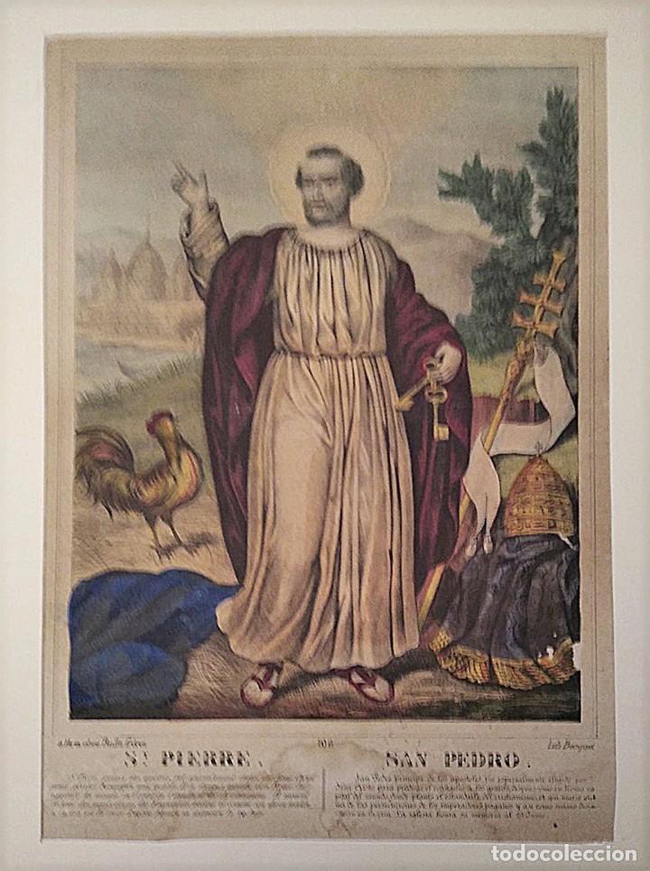Joyeria: San Pedro Príncipe de los Apostoles. Litografía. s. XIX - Foto 2 - 223434402