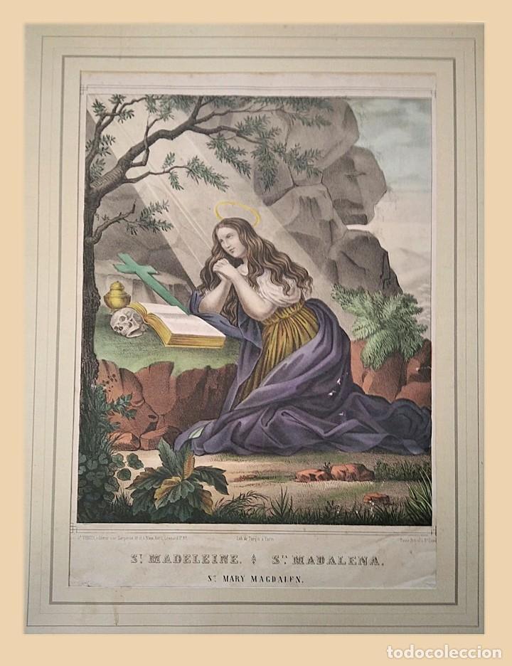 Joyeria: Santa Madalena. Litografía color. s. XIX - Foto 2 - 223436727
