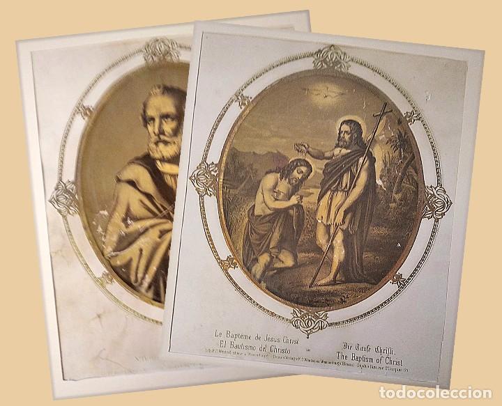 SAN JUAN BAUTISTA Y SAN PEDRO. PAREJA DE LITOGRAFÍAS. S. XIX (Bisutería)