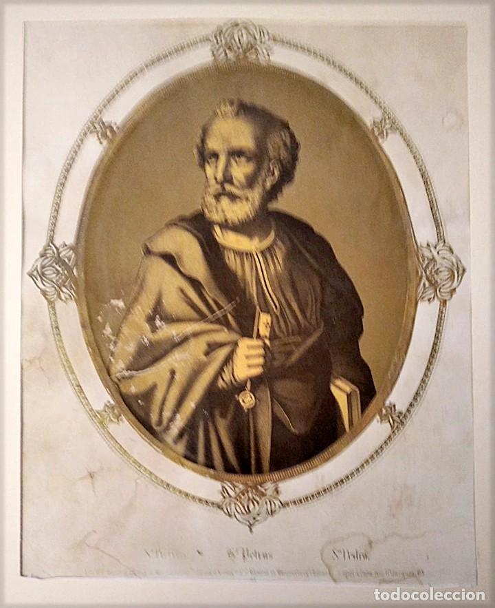 Joyeria: San Juan Bautista y San Pedro. Pareja de litografías. s. XIX - Foto 3 - 223439075