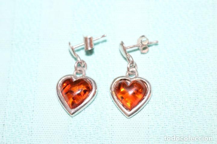 Joyeria: Encantadora pareja de pendientes de plata y ámbar. Charming pair of silver and amber earrings. - Foto 3 - 231224060