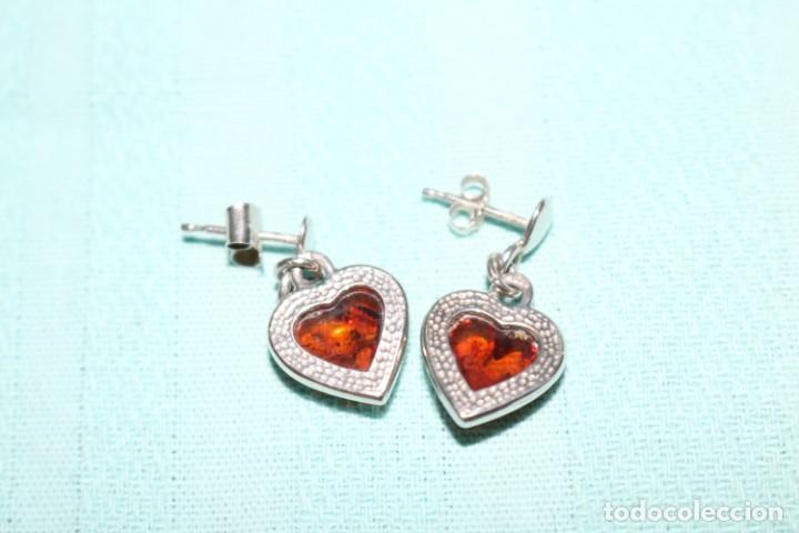 Joyeria: Encantadora pareja de pendientes de plata y ámbar. Charming pair of silver and amber earrings. - Foto 4 - 231224060