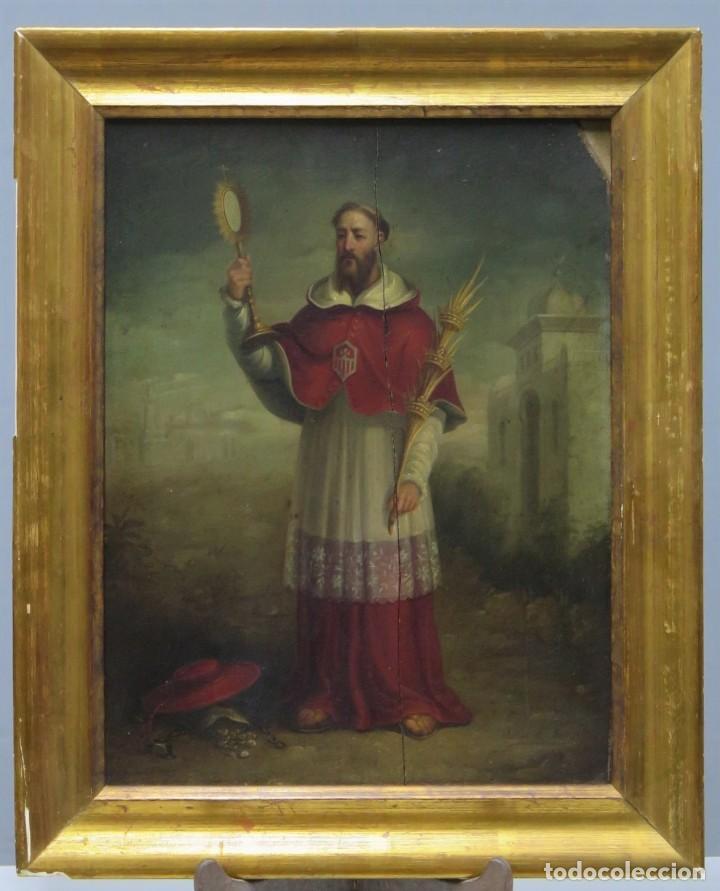 SAN RAMON NONATO. OLEO S/ TABLA. FIRMADO ISABEL DE MARTOS. SIGLO XIX (Bisutería)