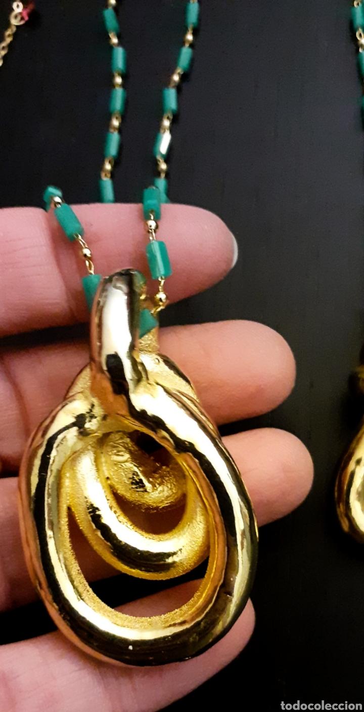 Joyeria: Collar con colgante de Nudo Marinero de porcelana bañado en oro vintage Grecia - Foto 4 - 232390040