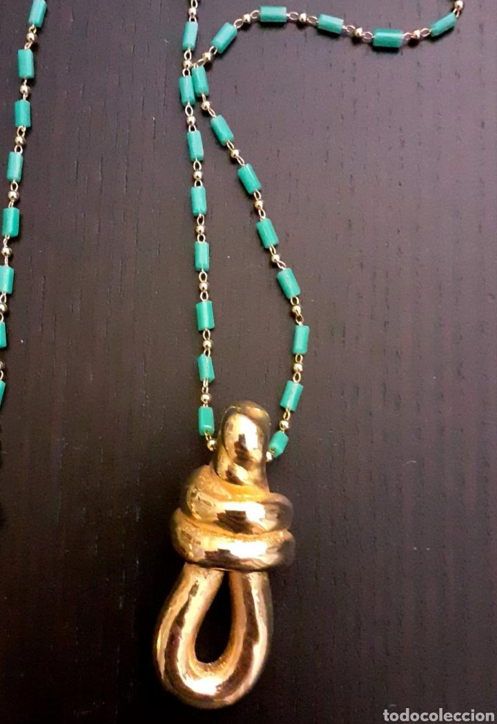 Joyeria: Collar con colgante de Nudo Marinero de porcelana bañado en oro vintage Grecia - Foto 2 - 232390790