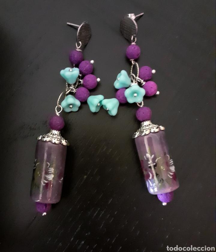 Joyeria: Pendientes de porcelana y plata Lavanda y Morada con flores de cristal azul cielo - Foto 3 - 233933050
