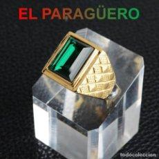 Joyeria: ANILLO SORTIJA DE DE ORO AMARILLO DE 24 KILATS LAMINADO-CON ESMERALDA-PESO 17 GRAMOS TALLA 11 -N1069. Lote 238151230
