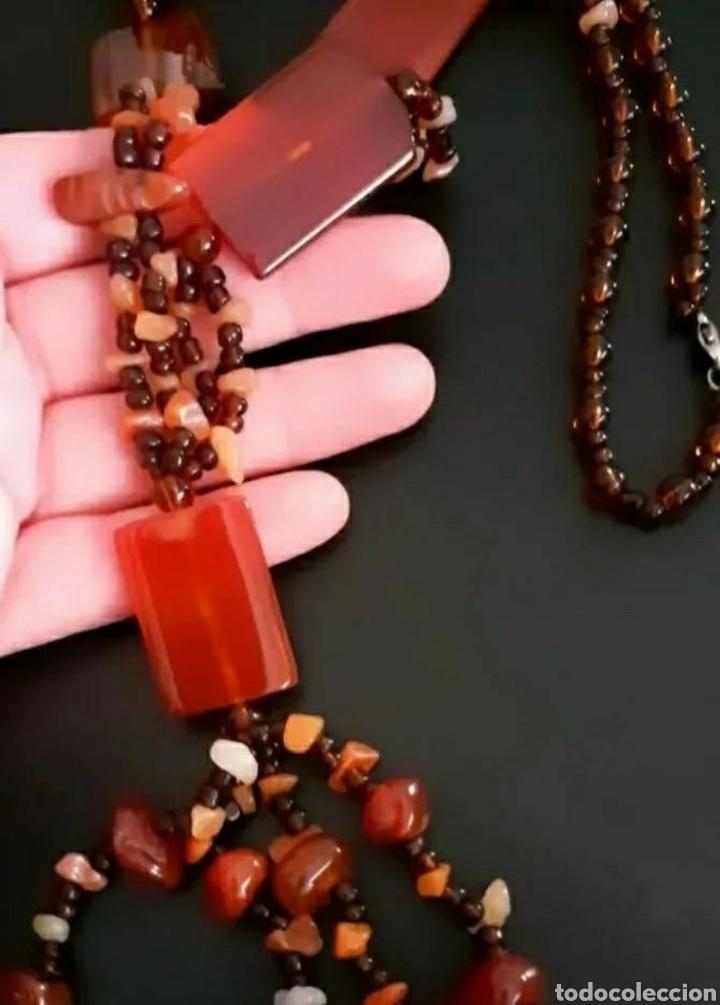 Joyeria: Collar de Ágatas en tonos tierra, marrón étnico vintage del Tíbet - Foto 2 - 252080605