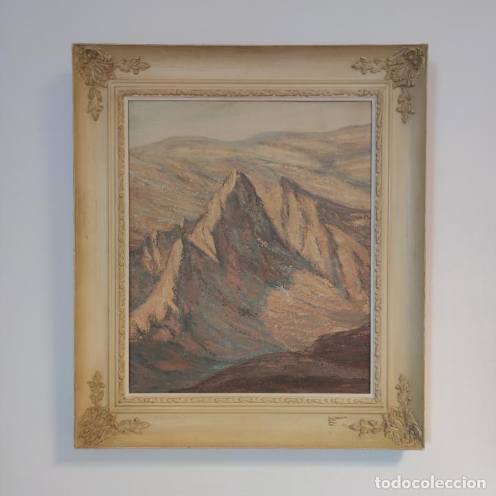 Joyeria: Gran oleo sobre lienzo. Paisaje montañoso al amanecer. Marco de calidad. Siglo XX. - Foto 2 - 254427190