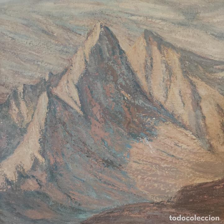 Joyeria: Gran oleo sobre lienzo. Paisaje montañoso al amanecer. Marco de calidad. Siglo XX. - Foto 3 - 254427190