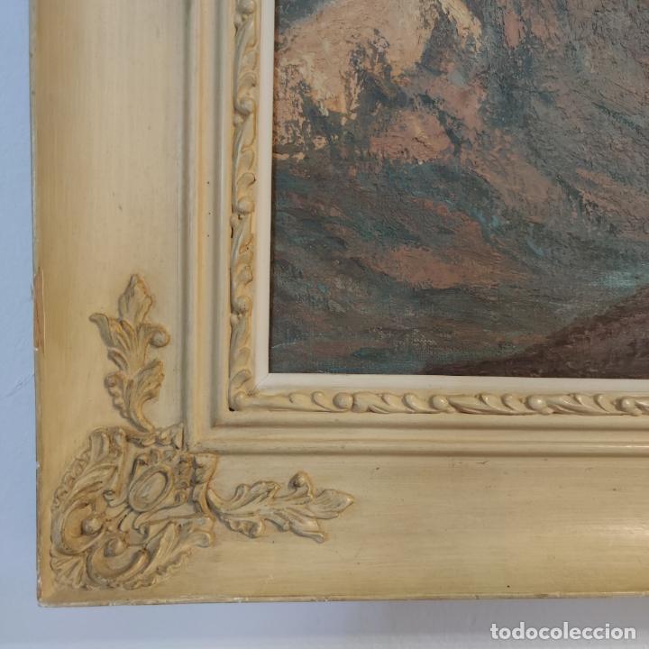Joyeria: Gran oleo sobre lienzo. Paisaje montañoso al amanecer. Marco de calidad. Siglo XX. - Foto 5 - 254427190