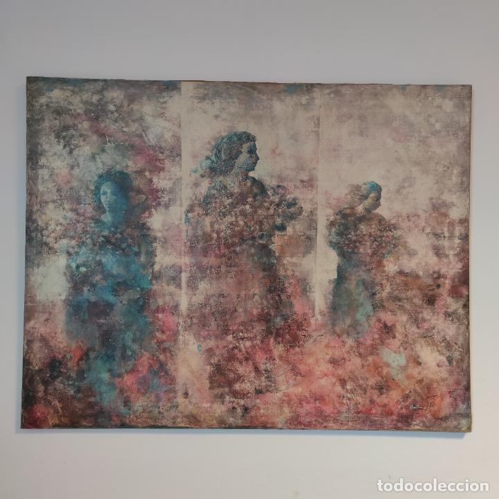 Joyeria: Enorme oleo sobre lienzo. Retrablo tríptico de las Náyades oferentes. Antonio Ferri. 1990. Firmado. - Foto 2 - 254428745