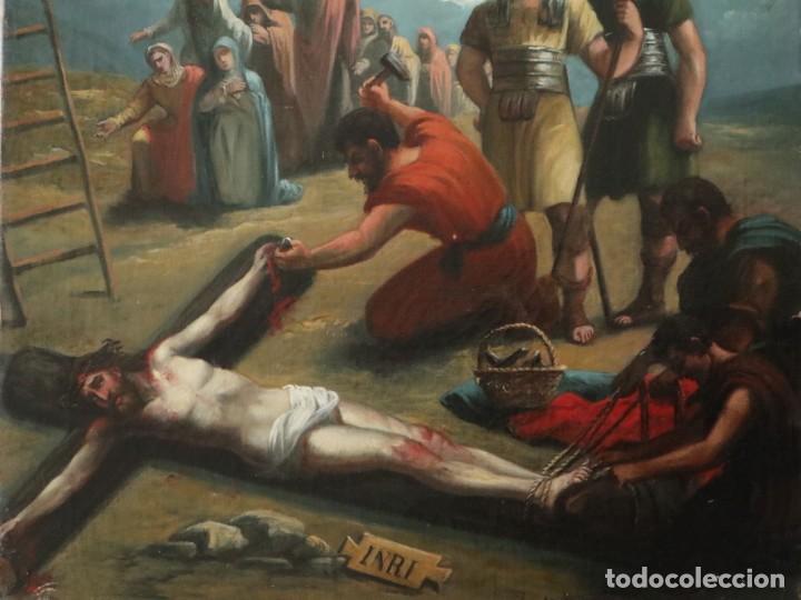 Joyeria: Francisco García Ibáñez.1885. Escena de la Crucifixión de Jesucristo. Óleo/lienzo. Med: 58 x 49 cm. - Foto 2 - 254451840