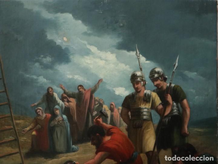 Joyeria: Francisco García Ibáñez.1885. Escena de la Crucifixión de Jesucristo. Óleo/lienzo. Med: 58 x 49 cm. - Foto 3 - 254451840