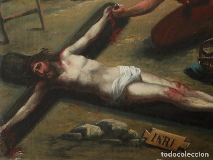 Joyeria: Francisco García Ibáñez.1885. Escena de la Crucifixión de Jesucristo. Óleo/lienzo. Med: 58 x 49 cm. - Foto 6 - 254451840