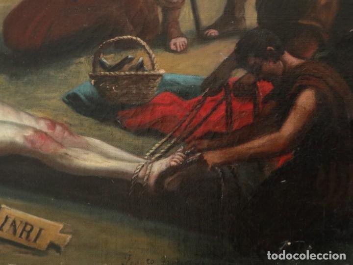 Joyeria: Francisco García Ibáñez.1885. Escena de la Crucifixión de Jesucristo. Óleo/lienzo. Med: 58 x 49 cm. - Foto 7 - 254451840