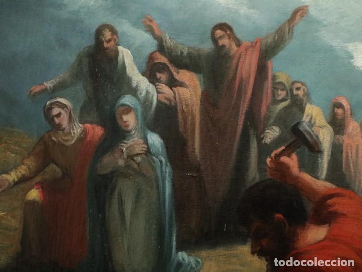 Joyeria: Francisco García Ibáñez.1885. Escena de la Crucifixión de Jesucristo. Óleo/lienzo. Med: 58 x 49 cm. - Foto 9 - 254451840