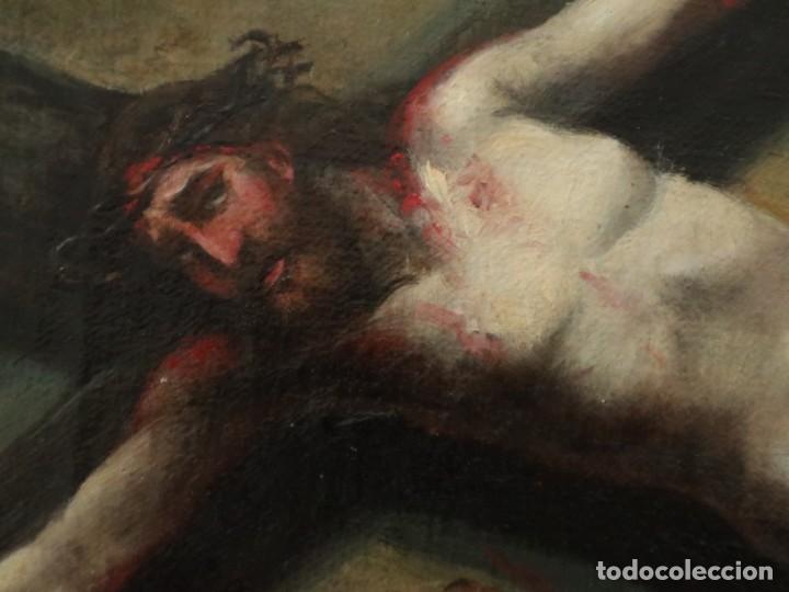 Joyeria: Francisco García Ibáñez.1885. Escena de la Crucifixión de Jesucristo. Óleo/lienzo. Med: 58 x 49 cm. - Foto 10 - 254451840