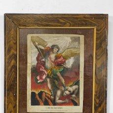 Joyeria: ANTIGUO GRABADO COLOREADO - SAN MIGUEL ARCÁNGEL - NICOLÁS ROCA Y MARÍA TERESA SELLENT - CIRCA 1820. Lote 258509940