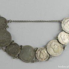 Joyeria: ANTIGUA PULSERA DE PLATA HECHA DE MONEDAS ESPAÑOLAS DE ALFONSO XII – 33.78 GR.. Lote 279373433