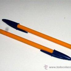 Bolígrafos antiguos: LOTE 2 BOLÍGRAFOS BIC NARANJA DE CAPUCHÓN SIN AGUJERO NUEVOS SIN ESTRENAR.. Lote 269155763